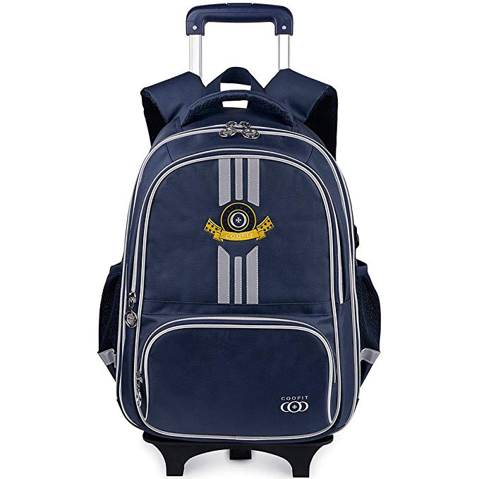 Rolling Backpack, School Backpack With Wheels, COOFIT Rolling Suitcase Luggage, Back To School Bookbag For Boys And Girl
