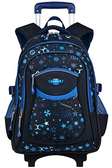 Rolling Backpack, COOFIT Wheeled Backpack School Kids Rolling Backpack With Wheels