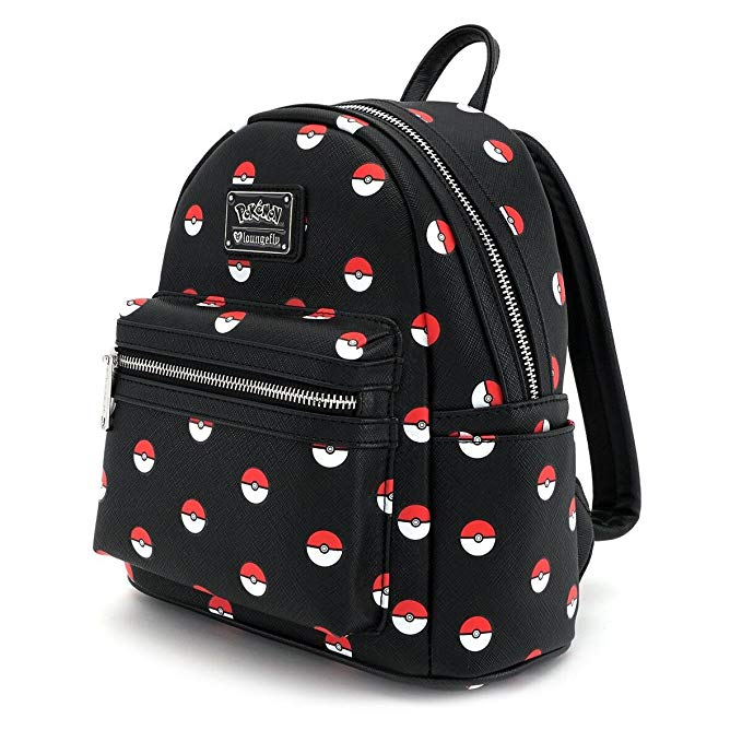Loungefly Pokemon Pokeballs on Black Mini Faux Leather Fashion Backpack for School Multipurpose etc