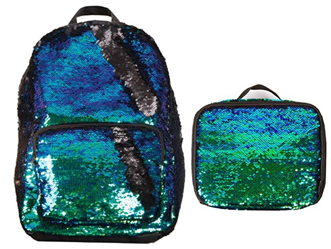 Magic Sequins! Reversible Shimmering Mermaid to Black Fashion Backpack & Matching Lunch Bag