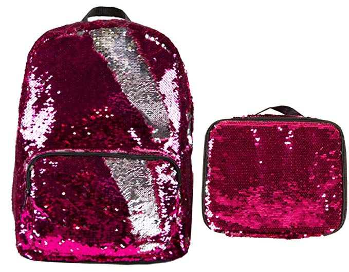 Magic Sequin! Reversible Sequin Pink to Silver Fashion Backpack & Matching Lunch Bag